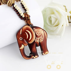 Hand Made Bead Wood Elephant Necklace - WikiWii