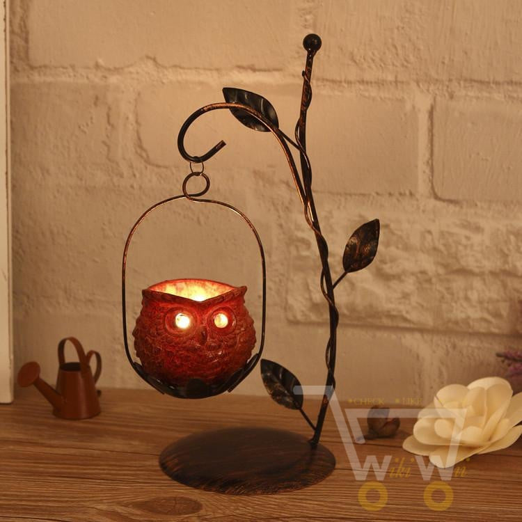 Handmade Owl candle holder - WikiWii
