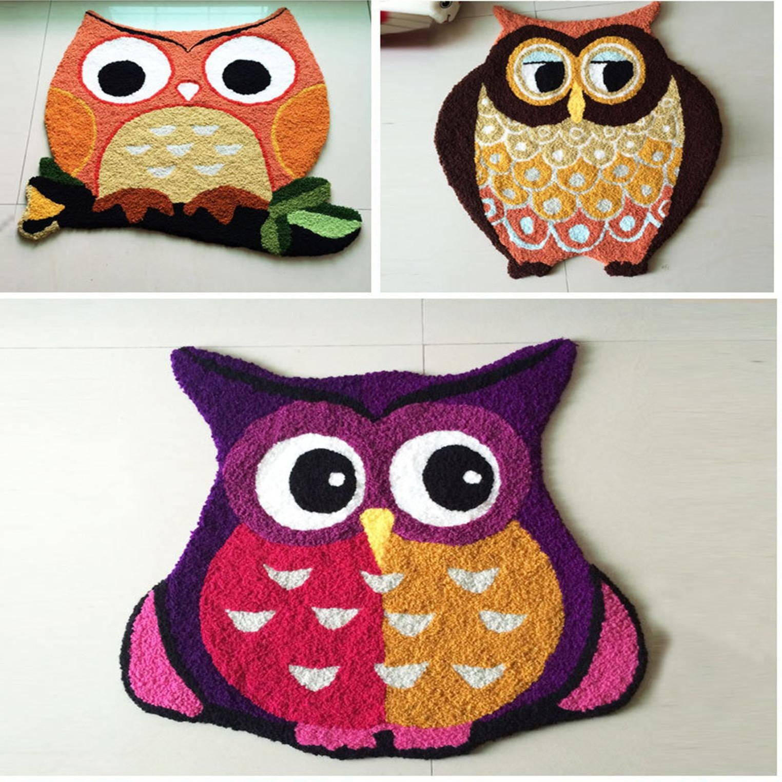 Handmade Owl Floor Mat Carpet