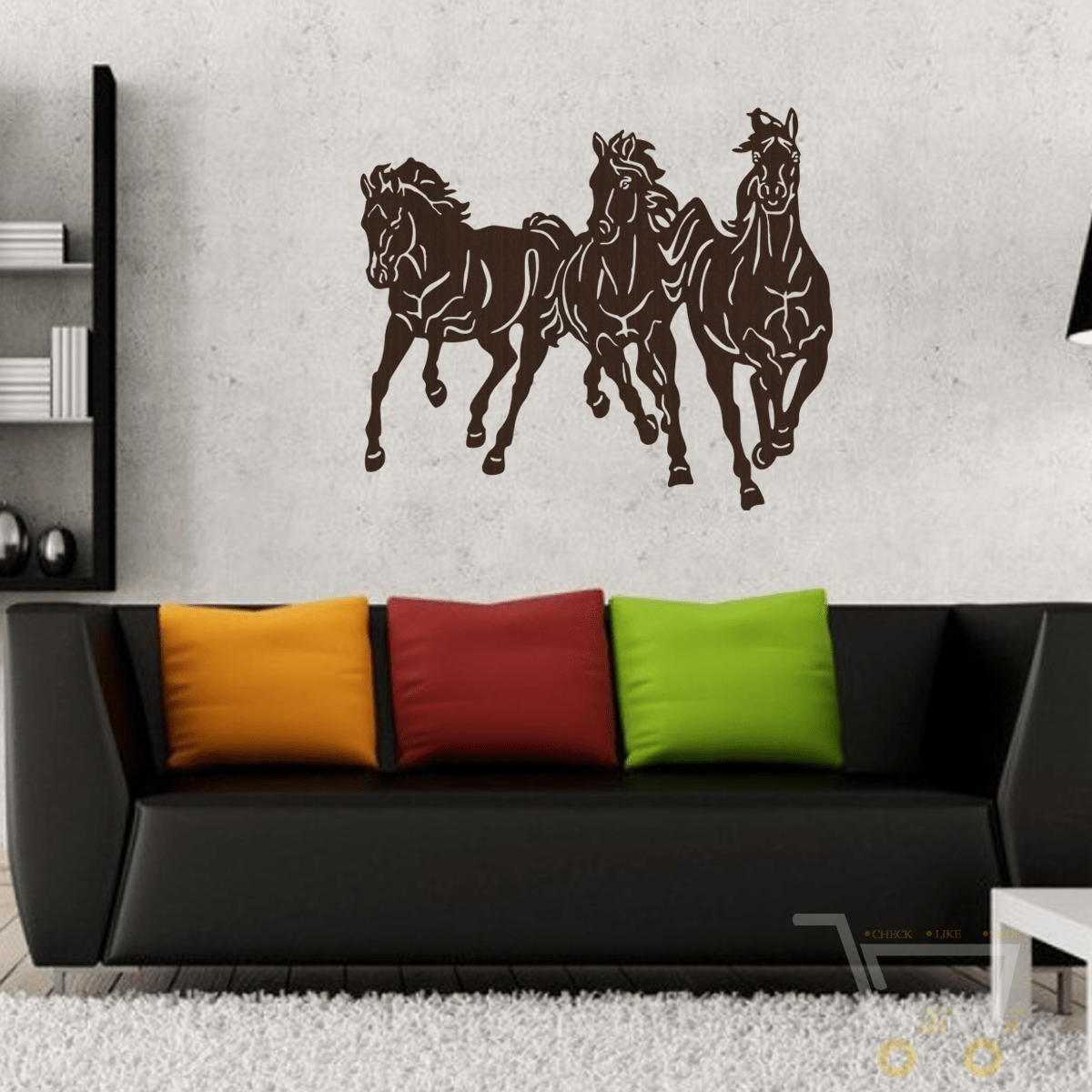 Handmade Wood Wall Art 3 Horses ( Not Sticker) - WikiWii