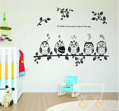 happy owl family stand on the branch PVC wall stickers - WikiWii