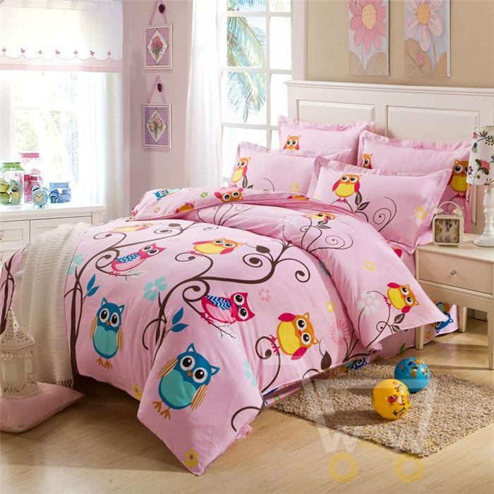 cartoon bedclothes sets queen product cover comforter size pillowcases kids wholesale bedding duvet teen cotton bed owl set bedsheet blanket