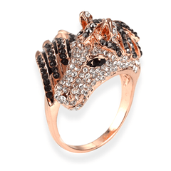 Rose Gold Plated Horse ring