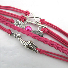 Infinity Owl Giraffe Key Friendship Leather Charm Bracelet - WikiWii