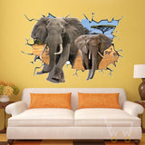 LED African Elephant Removable Wall Sticker