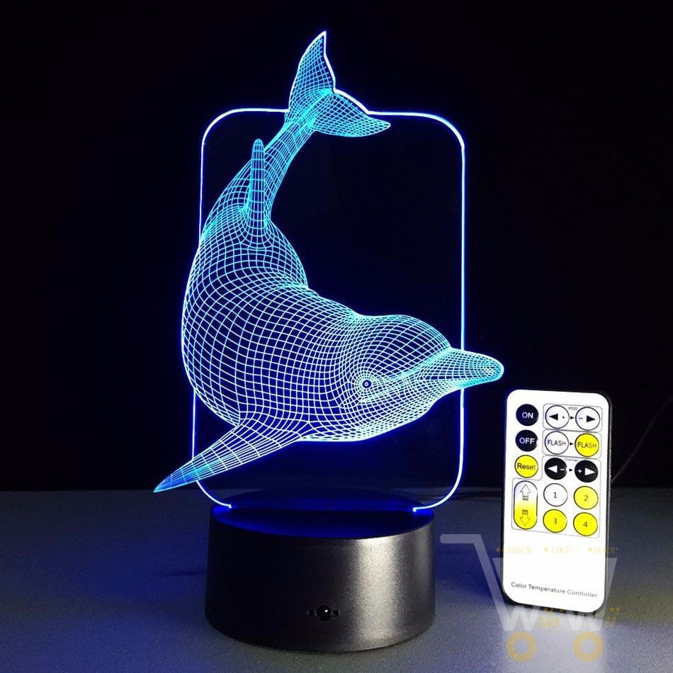 ... LED Dolphin LAMP   7 COLORS CHANGEABLE (With Remote Control)   WikiWii  ...