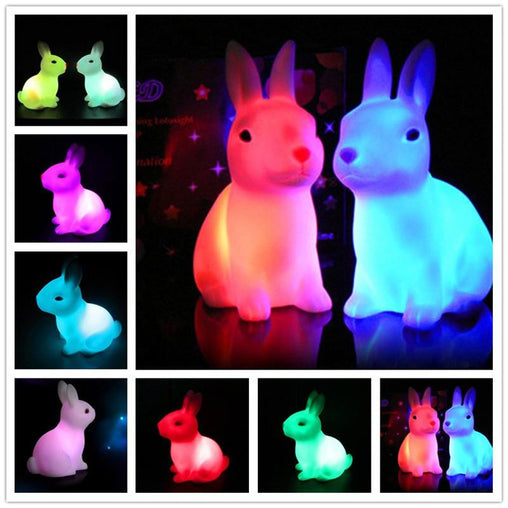 LED Rabbit Shape Night Light -Color Changing - WikiWii