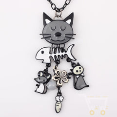 Long Chain Colorful Cat Necklace - WikiWii