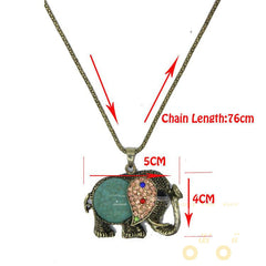 long Desig Rhinestone Elephant Necklace - WikiWii