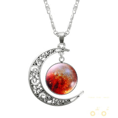 Lovely Galaxy Glass Moon Necklace - WikiWii