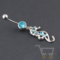 Medical Steel Crystal Rhinestone Sea Horse Charm Belly Button - WikiWii