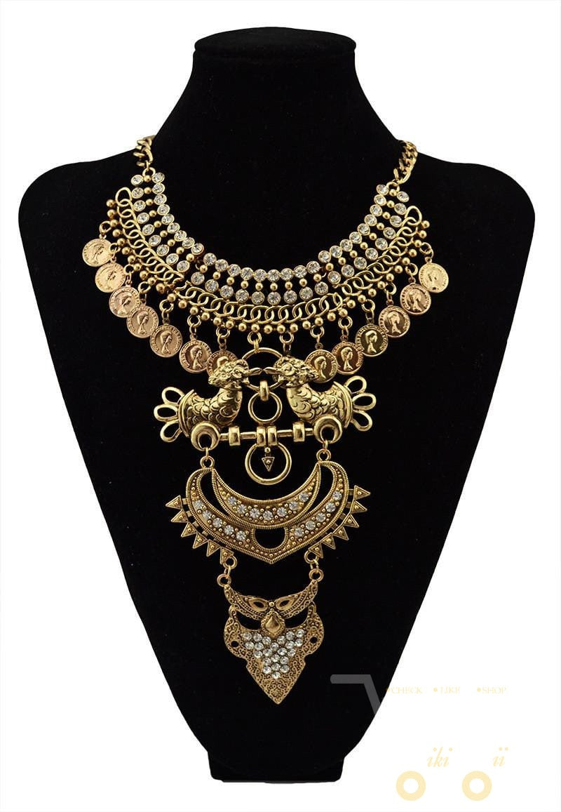 multi layer necklace gold Crystal Owl Bird Big Statement Necklaces - WikiWii