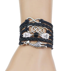 Multi-Strands Infinity Silver Color Owl & Giraffe Charm Leather - WikiWii