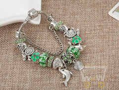 New Design Dolphins/Turtle Charm Green Glass Beads Bracelet - WikiWii