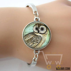 Owl Art photo bracelet antique (silver / gold / bronze) plated - WikiWii