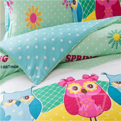 Owl Bedding Cover Sets Pillow Case Reactive Print Comforter Cover Sheet Set Queen size 200X230 cm - WikiWii