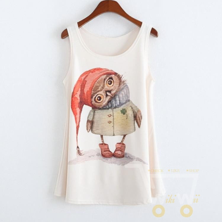 Owl Christmas Print Tank Tops T- Shirt Tee Vest ( one size ) - WikiWii