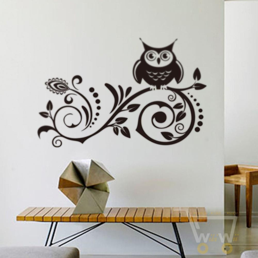 owl creative removable wall stickers - WikiWii