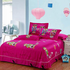 Owl girls bedding set 4/3 pieces 100% cotton - WikiWii