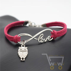 Owl INFINITY LEATHER BRACELET - WikiWii
