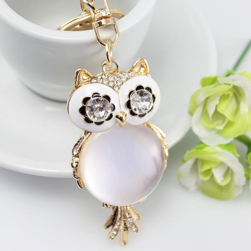 Owl key chain with rhinestones 18 kg gold plated - WikiWii