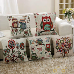 Owl Linen Cotton Throw Pillow Case Home Sofa Bed Car Decor - WikiWii