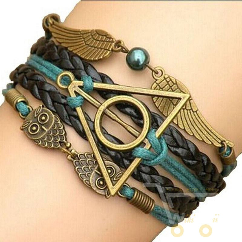owl Multi-color woven leather bracelet with wings ( infinity bracelet ) - WikiWii