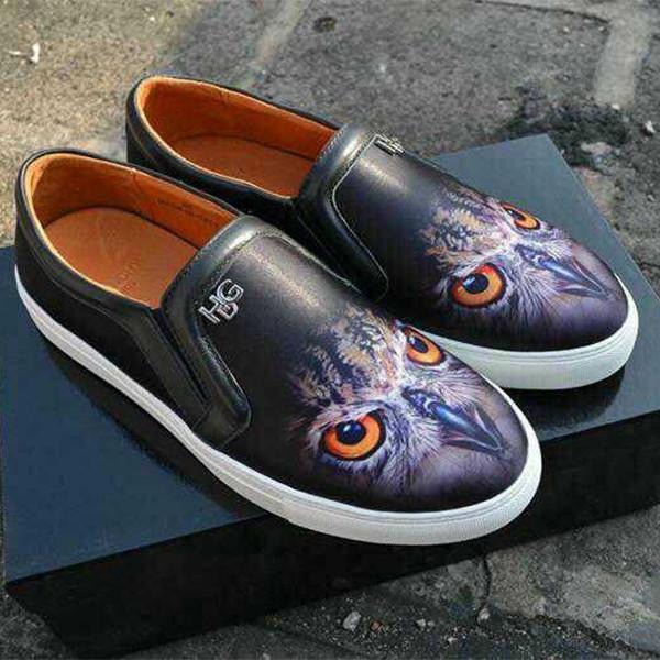 Owl print loafers casual real leather ( Hight Quality ) platform shoes - WikiWii