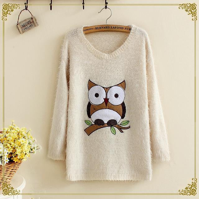 owl sweaters pullover women blouses ( one size ) - WikiWii