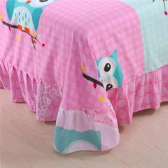 Pink Owl Bedding Sets, 4 pc Queen Size Owl 100% Polyester Fibre - WikiWii