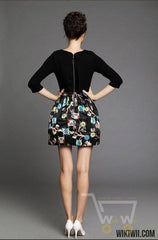 Printed sleeve crew neck symmetrical Owl dress - WikiWii