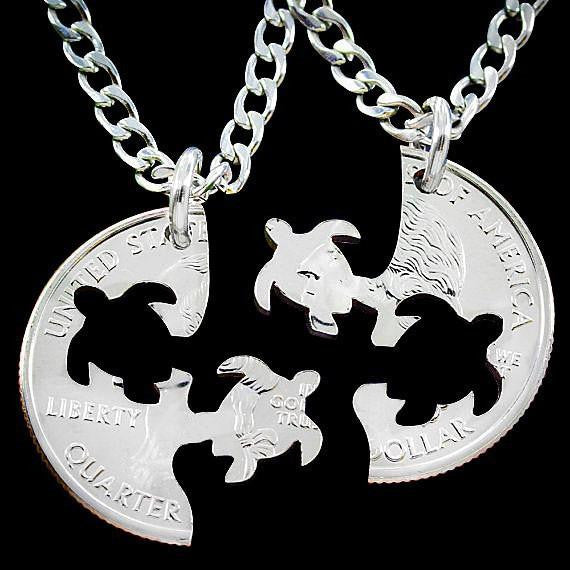 Quarter Dollar Turtle Friendship Pendant Necklace ( 2 Pieces ) - WikiWii
