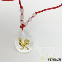 Red Long Rope Necklace Crystal Glass Ball Gold Plated Chicken Necklace - WikiWii
