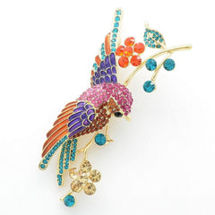 Rhinestone Crystals Brooches Flower Hummingbird - WikiWii