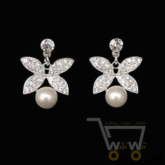Rhinestone Pearl Butterfly Necklace & Earring - WikiWii