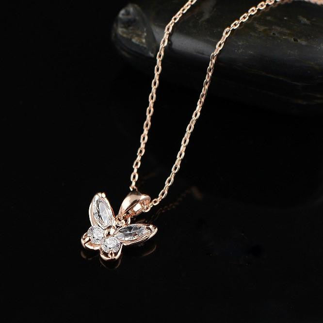 Rose Gold Plated Butterfly Necklace - WikiWii