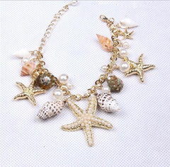 Sea Starfish Shell Conch Pearl Ball Beach Bracelet - WikiWii