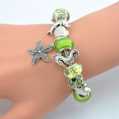 Sea style starfish shell turtle dolphin seahorse Charms Bracelets - WikiWii