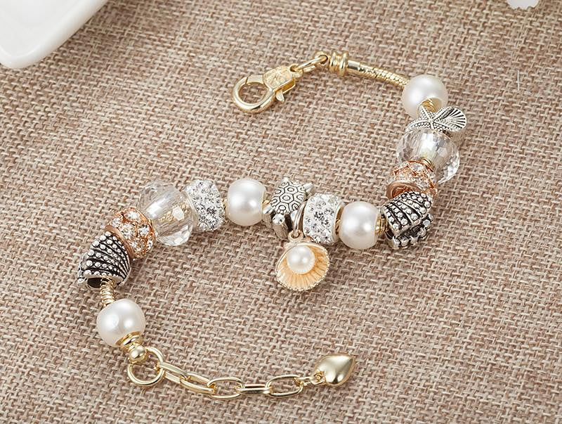 Sea Turtle Bracelet-Top Quality Gold Chain Pearl/Starfish/Turtle Beads