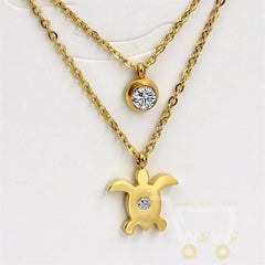 Sea Turtle Double Chain Necklace With Crystal, Gold / Silver plated - WikiWii