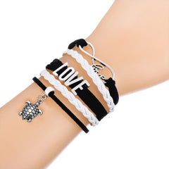 Sea Turtle & Infinity Love Charm Multilayer Braided Leather Bracelet - WikiWii