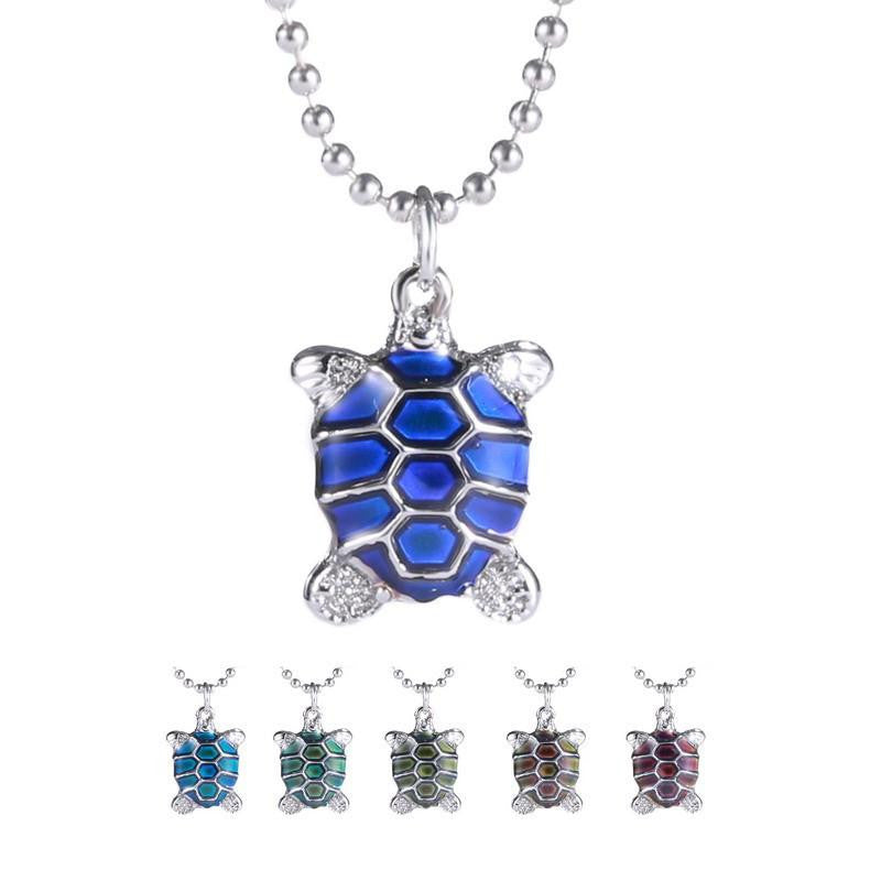 Sea Turtle Necklace Pendant with Bead Chain (Temperature Change Color ) - WikiWii
