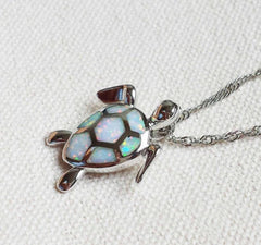Fire Opal Stone Sea Turtle Necklace - WikiWii