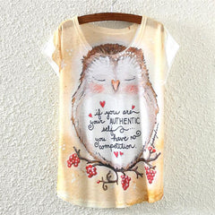 Shy of the owl Design print T-Shirt ( One size ) - WikiWii