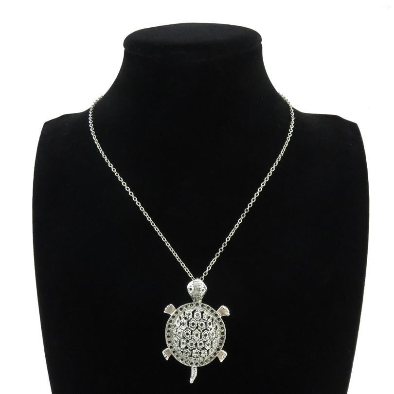 "Silver Alloy Ocean Sea Turtle Necklace 18"" - WikiWii"