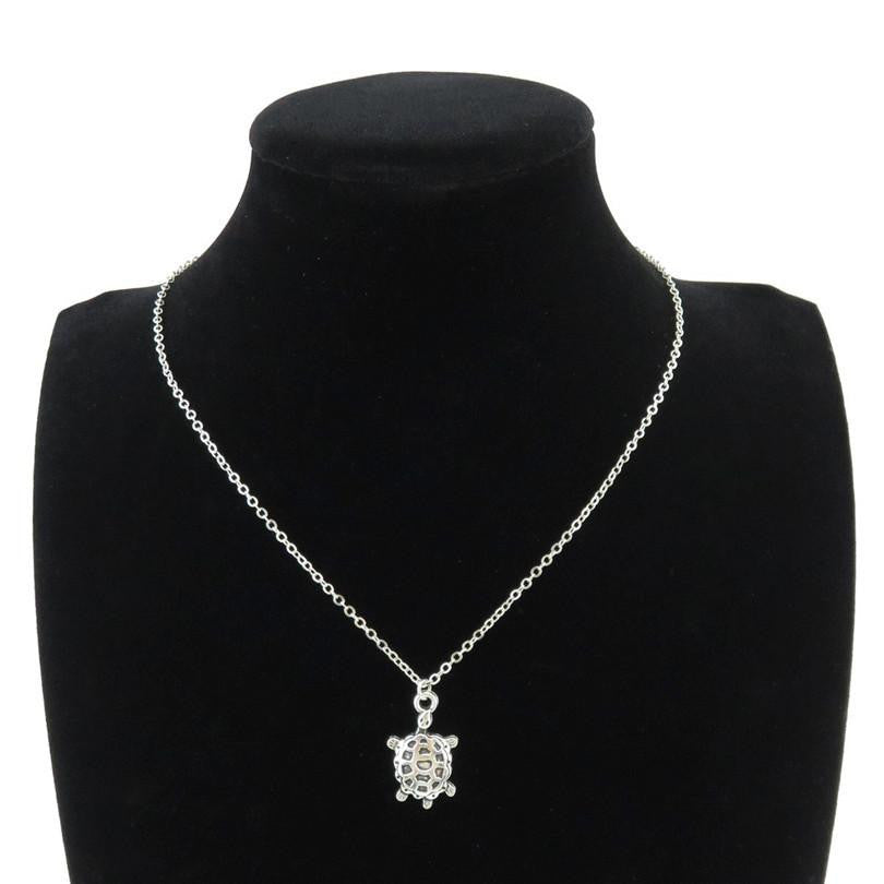 "Silver Alloy Sea Turtle Necklace 18"" - WikiWii"