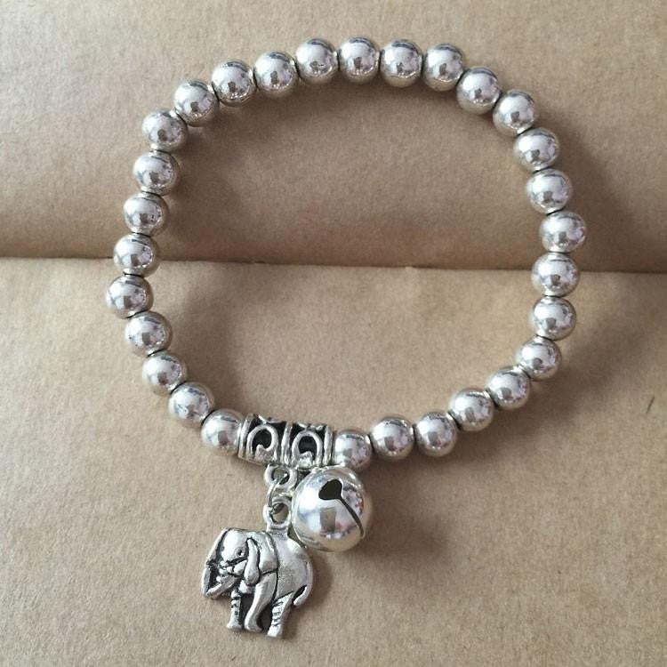 Silver Plated Beads Elephant Bracelet - WikiWii