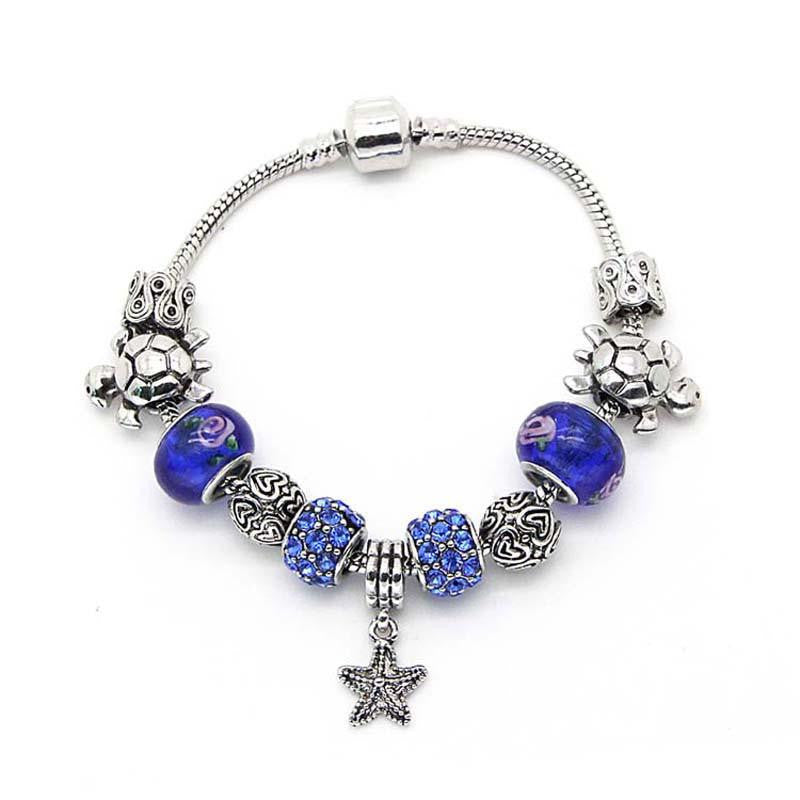 Silver Plated Chain Starfish / turtle Bracelet - WikiWii