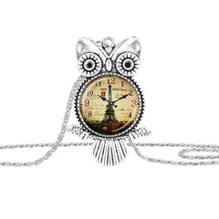 Silver Plated  Clock Owl Necklace - WikiWii