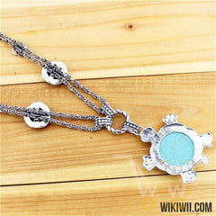 Silver Plated Cute Fat Turtle Necklace - WikiWii